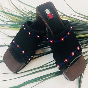 Tommy Hilfiger. Black slip on sandals